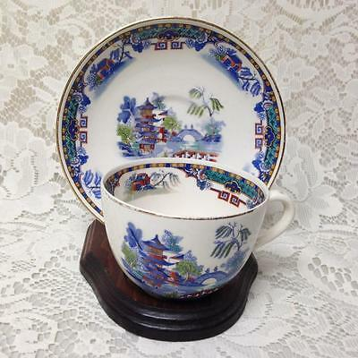 Vintage, Rare, England,Variant, Gaudy Blue Willow 2pc Cup and Saucer