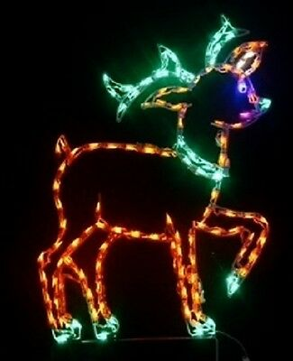 Christmas Reindeer Holiday Xmas Outdoor LED Lighted Decoration Steel Wireframe