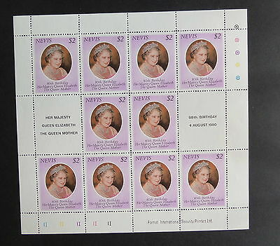 Nevis 1980 Queen Mother's 80th Birthday sheetlet MNH UM unmounted mint