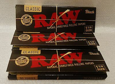 3 Packs Raw Black 1 1/4 Natural Unrefined Rolling Papers 50 Leaves Per Pack