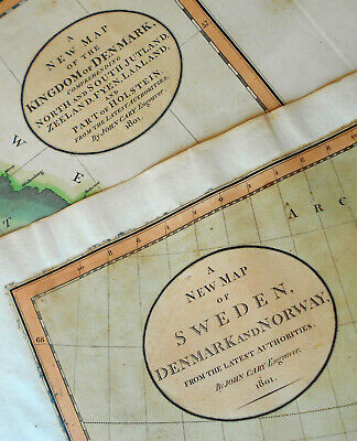 1801 Large Antique Map Chart John Cary Sweden Denmark Norway Scandinavia