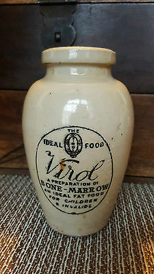Antique Victorian Large Virol Bone Marrow Stoneware Printed Jar