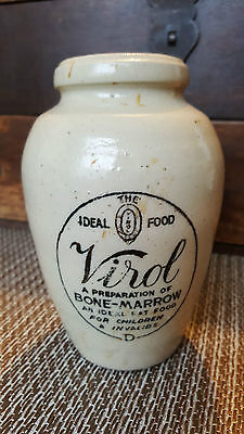 Antique Victorian Virol Bone Marrow Stoneware Printed Jar