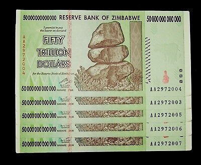 5 x Zimbabwe 50 Trillion Dollar banknotes / Circulated currency