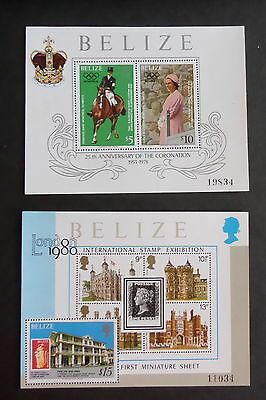 Belize 1978 25th Anniversary of Coronation MS503 2 sheets MNH UM unmounted mint