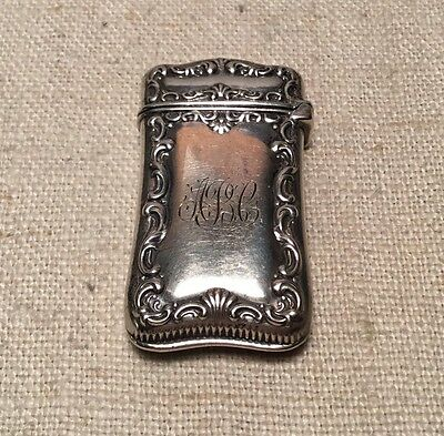 Whiting Antique Art Nouveau Sterling Silver Scroll Border Match Safe