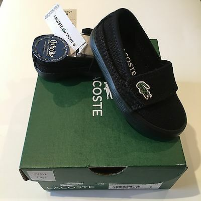 Lacoste Marice Black UK5 EU21 Infant Pumps BNWT Baby Boys Trainers Shoes RRP £32