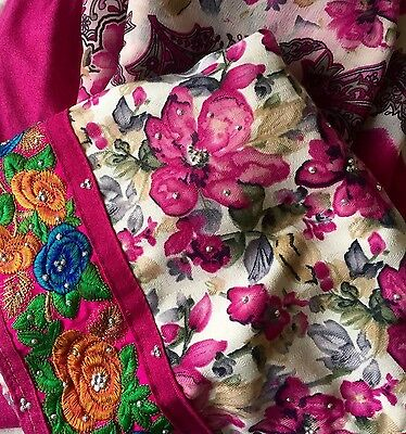 Pink Flowery Salwar Kameez New Warm Indian Suit Wedding Party All Occasions