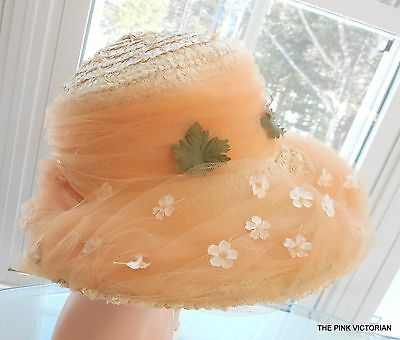 VINTAGE ladies HAT LAURIE NOVEL straw Easter BONNET soft peach colored TULLE