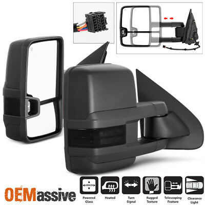 Fit 14-17 Chevy Silverado GMC Sierra Power Heated Smoked LED Side Towing Mirrors