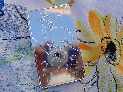 10 oz. 2015 Year of the Goat Lunar bar .999 fine silver
