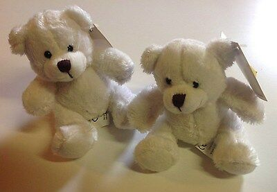 Lot 2 OURS BLANC PELUCHE 10 CM ourson NEUF