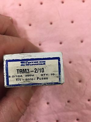 New Lot Ferraz Shawmut TRM3-2/10 Amp Fuses Bussmann 250V NIB, Box Of 10