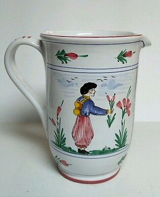 "S Berma Pitcher Italy Deruta Hand Painted Italian Pottery 8"" White Red Signed"