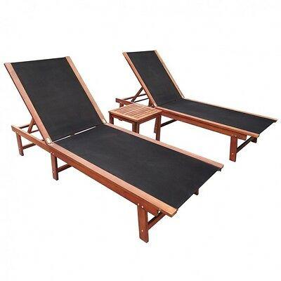 Black Sun Lounger Set Wooden Outdoor Pool Deck Hotel Sunbeds Chaise Chairs Table