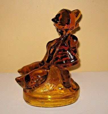 Vintage L.E.Smith Amber Glass Girl With Ducks Geese Figurine