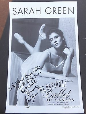 SARAH GREEN - National Ballet Of Canada- Signed Poster