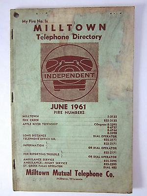 Vintage Telephone Book 1961 Milltown Wisconsin Mutual IndependantPhone Directory