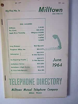 Vintage Telephone Book 1964 Milltown Wisconsin Mutual Ind. Phone Directory