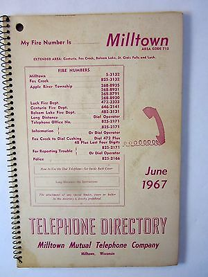 Vintage Telephone Book 1967 Milltown Wisconsin Mutual Ind. Phone Directory