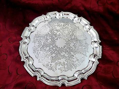 Vintage SILVERPLATE CHIPPENDALE SERVING TRAY Made in England 10 3/8""