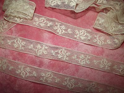 "3.1 yds ANTIQUE Victorian Valenciennes Net Insertion Lace White 112"" VINTAGE 1""w"
