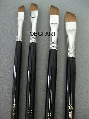 Professional Artists Quality Brushes Angled Shape Pure Sable 4 SIZES to choose