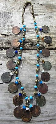 Amazing Tribal Antique Islamic Turkish Ottoman Copper Coin Glass Bead Necklace