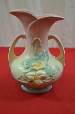 "Hull Art Pottery #4 WildFlower 7.5"" Pink Blue Vase Double Handle#1442"