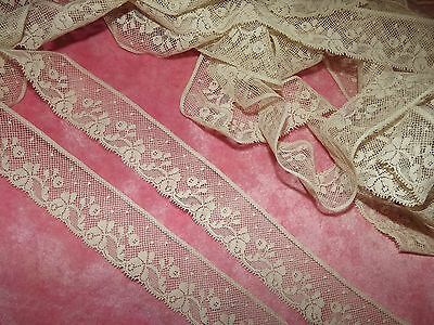 "6 yds ANTIQUE Victorian Valenciennes Net Edging Lace 216"" VINTAGE Cream 1 1/4"""