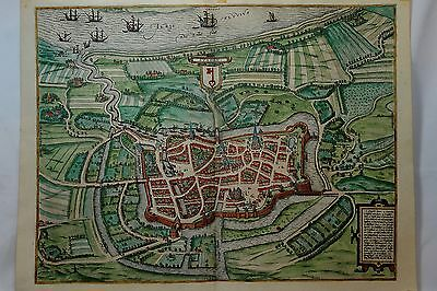 Copperplate Engraved Map from 1595 Cologne Braun&Hogansberg by George Hoefnagle
