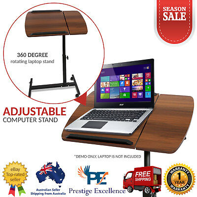Portable Laptop Stand Adjustable Height Computer Netbook Desk Table Walnut - New