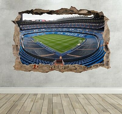 Real Madrid Football Stadium 3D Kids Wall Sticker Boys Bedroom