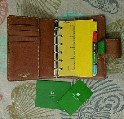 Kate Spade Monogram Fabric Leather Planner Organizer Agenda~Inserts Not Included