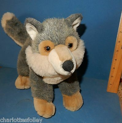 """DARLING AURORA  WOLF PLUSH TOY 10"""" HIGH  STANDS OR SITS  husky mix"""