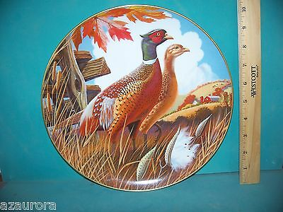 "LARRY TOSCHIK PHEASANT BIRDS LARGE 10"" COLLECTOR  PLATE  animal 1985"