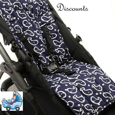 Outlook Pram Liner - Cotton+Cotton Pram Liner - Navy Whales
