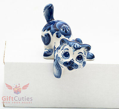 Cat Kitten playing hunting Collectible Gzhel Porcelain Figurine hand-painted