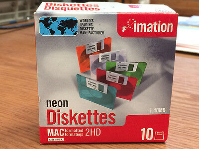 Diskettes neon mac formatted 2hd 1.40mb imation 10-pack