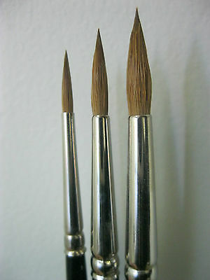 3 PCS PURE RED SABLE ARTIST QUALITY WATERCOLOR BRUSH  #3-5-7 Made in Germany