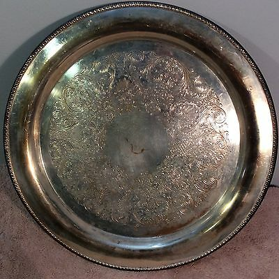 "Wm Rogers Silver plated Round Etched 15""platter 4372"