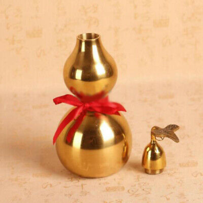 Chinese Brass Feng Shui Gourd Wu Lou Wu Lu Health Buddhist Good Luck Gold Color