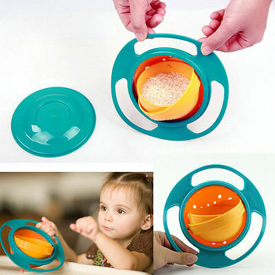 Gyro Bowl Food Avoid Spill Resistant Self Feeding Rotation Kids Baby Toddler UFO