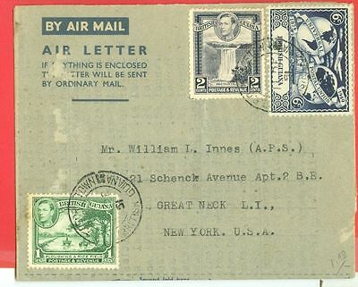 British Guiana 3 diff stamp used on Air Letter to USA 1951