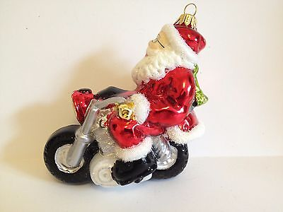 Polish Blown Glass Santa With Motorcycle Hand Painted Around 4.5 Inches