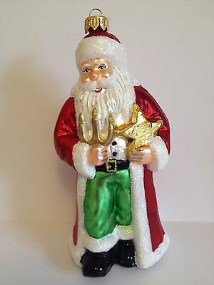 Polish Blown Glass Santa With Star Hand Painted Around 6.5 Inches