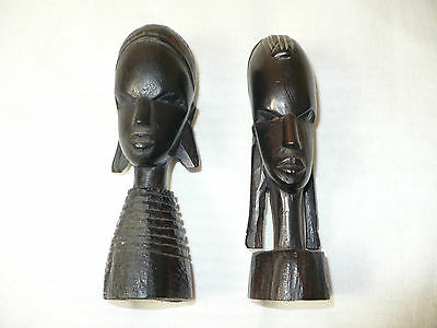 """[2] Antique / Vintage """"tanzania Pex. Hand Carved"""" Figure Art Collectibles-Marked"""