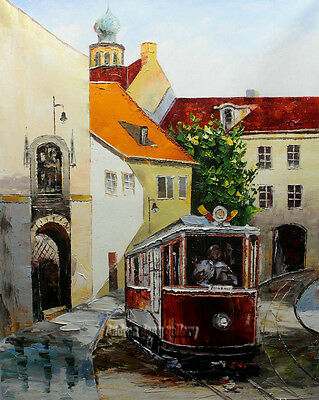 Original knife Hand Painted Prague Oil painting Wall art Deco on Canvas prg046
