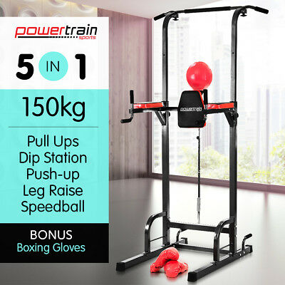 New CHIN UP AB STATION HOME GYM EXERCISE EQUIPMENT TOWER MULTI STRENGTH TRAINING