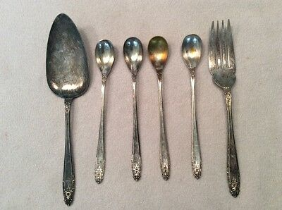 "Vintage Nickel Silver 7"" Ice Tea Spoons, Serving Fork and serving spoon."